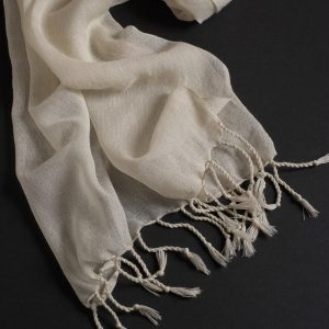Cloud - Fine wool scarf selvedge sides with tassles 1800mm x 320mm (SC42)-0