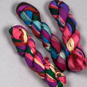 100 gr hanks Stitched ribbon silk dupioni yarn-0