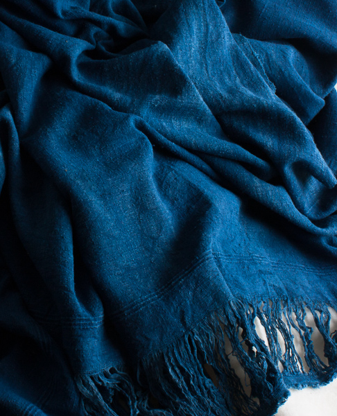 Raw 100% silk wrap dyed with natural indigo 2400mmx1200mm-461
