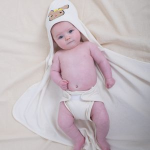 Soft organic cotton baby towel with hood.-0