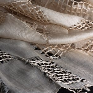 Tex - Silk shawl, hand pulled work with fringe 2000mm x 700mm (SC87)-0