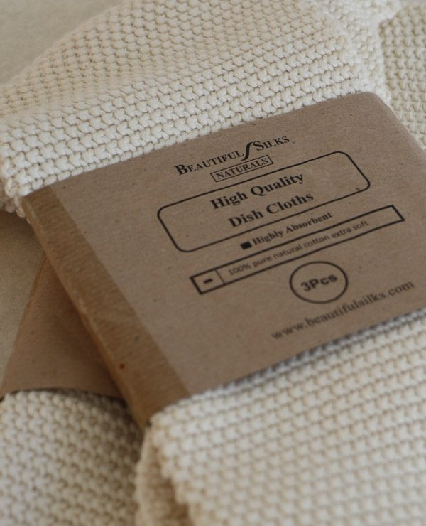 Pure organic cotton Dish cloths - pack of three-0