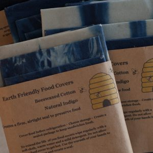 Indigo dyed beeswax eco food wraps, pack of 4-0