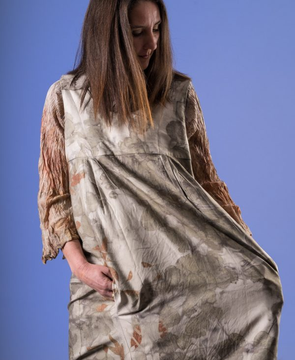 Multi size silk wool pocketed pinnafore dress. (sold undyed)-0