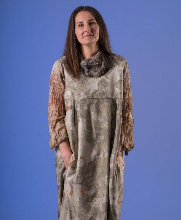 Multi size silk wool pocketed pinnafore dress. (sold undyed)-767