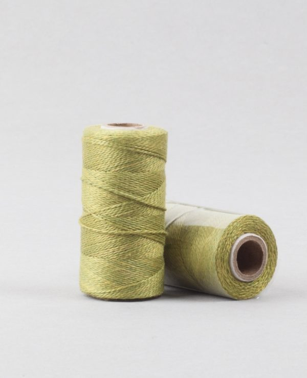 Herbal dyed silk stitching thread, spring green colour-0