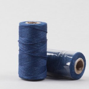 Herbal dyed silk stitching thread, deep indigo colour-0
