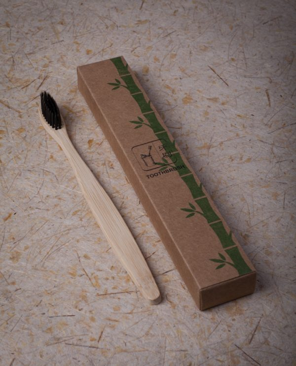 Bamboo toothbrush charcoal bristles-0