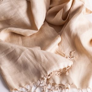 Pure linen scarf unbleached tight weave 2000x500mm SC98-0