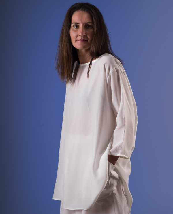 Silk satin backed crepe top with binding-0